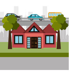 house in the neighborhood scene vector image