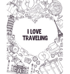 i love traveling poser vector image
