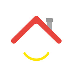 Icon concept of house roof with smiling mouth vector