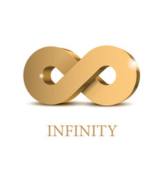infinity 3d gold symbol vector image