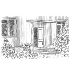 Ink entrance house on the white vector