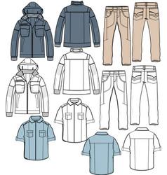 Jacket pants shirt apparel sketch fashion man boy vector
