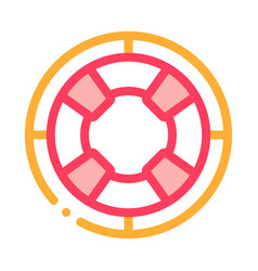 lifebuoy circle icon outline vector image