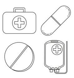 Line art black and white first aid kit content set vector