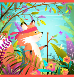 little fox goes hiking adventure colorful forest vector image