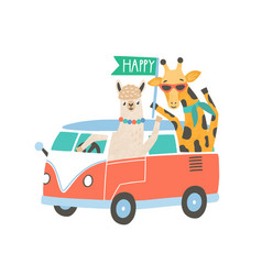 llama and giraffe in minivan flat vector image