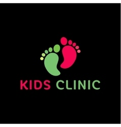 Logo children health clinic child feet flat vector