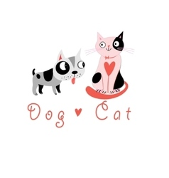 Lovers funny cats and dog vector
