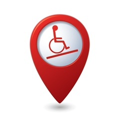 Map pointer with handicap icon vector