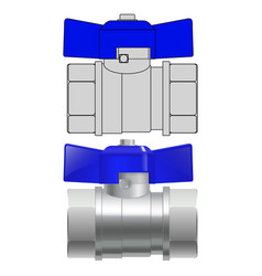 Metal valve with blue tap 3d vector