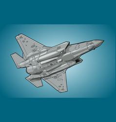 Modern american jet fighter aircraft vector