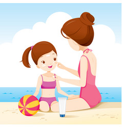 Mother wearing sunscreen on daughter face vector
