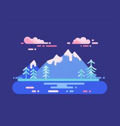 mountain range and lake travel destination concept vector image