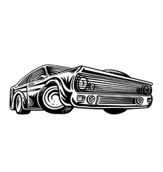 Muscle car or vintage transport classic retro old vector