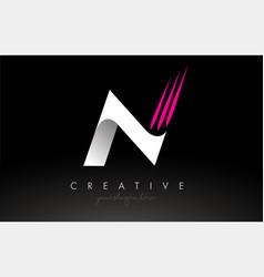 N white and pink swoosh letter logo letter design vector