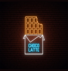 Neon chocolate sign glowing neon chocolate emblem vector