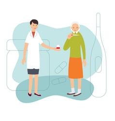 Nurse and patient sick elderly woman measures vector
