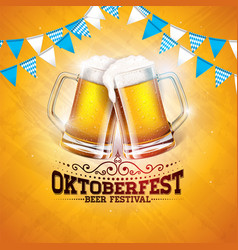 oktoberfest banner with fresh beer vector image