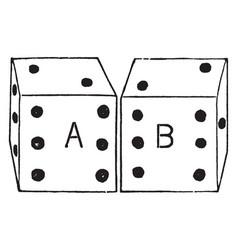 Pair of dice vintage vector