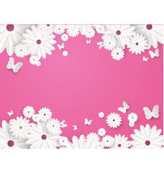 paper cut butterfly with flower background vector image