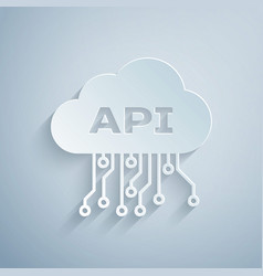 Paper cut cloud api interface icon isolated on vector