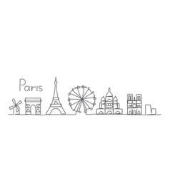 paris one line drawing in line vector image