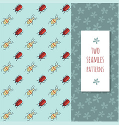 Patterns set with cute bugs and flowers vector