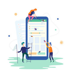 People catching bugs on mobile app it vector