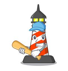 playing baseball lighthouse character cartoon vector image