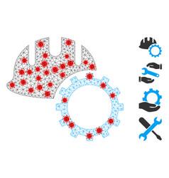 Polygonal mesh development hardhat pictograph vector