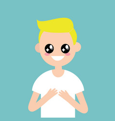 portrait of young character with big anime eyes vector image