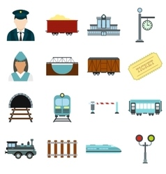 Railroad flat icons set vector
