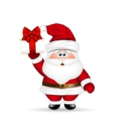 Santa Claus with Christmas gift in hand vector