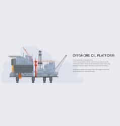 Sea oil platform banner vector