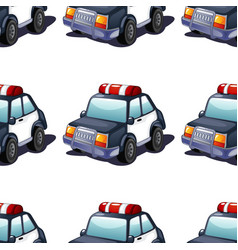 Seamless pattern tile cartoon with police car vector