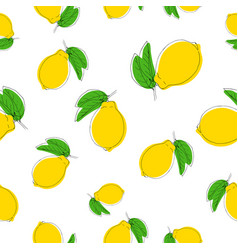seamless pattern with lemons color on vector image