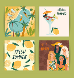 Set bright summer with cute women vector