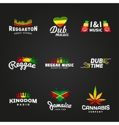 Set of africa flag logo design Jamaica music vector