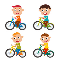 Set of cartoon boys riding a bike having fun vector