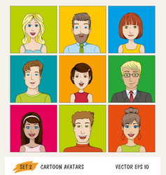set of cartoon people avatar icons vector image