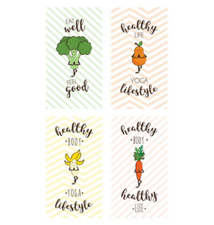 set of cute posters of fruits and vegetables doing vector image