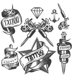 set tattoo labels in vintage vector image