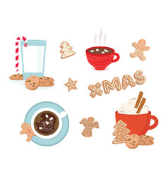 set winter drinks phrases and gingerbread vector image