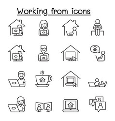 Set work at home line icons contains such vector