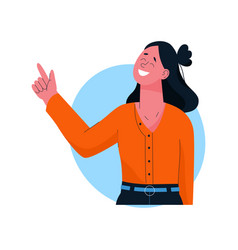 Smiling woman pointing with her finger up vector