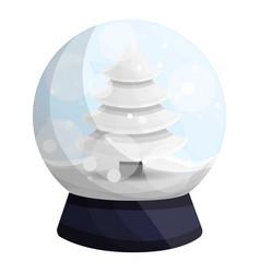 Snowglobe snow fir tree icon cartoon style vector