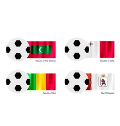 Soccer Ball with Maldives Malta Mali Flag vector image