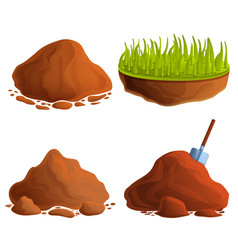 Soil icons set cartoon style vector