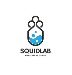 squid lab logo concept laboratory and storage log vector image