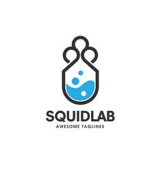 Squid lab logo concept laboratory and storage log vector
